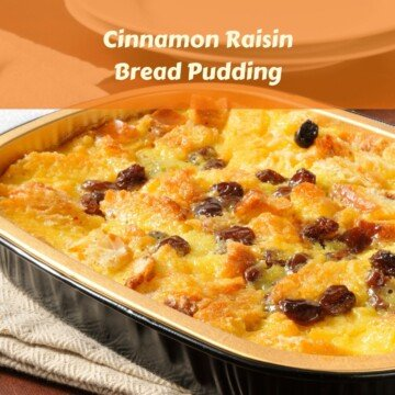Dish of raisin bread pudding with text overlay