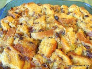 Bread pudding baked in the oven