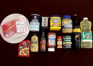 Roast beef and other ingredients for crockpot roast beef