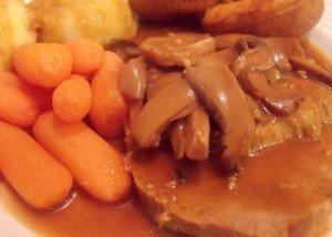 Crockpot Roast Beef In Mushroom And Red Wine Gravy