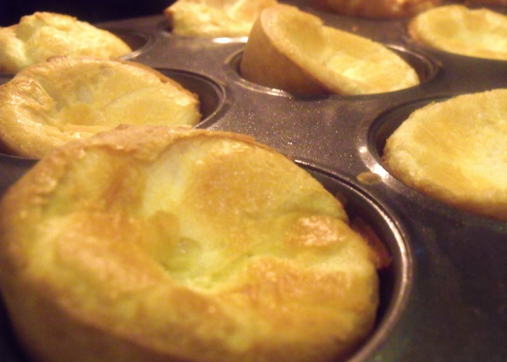 Yorkshire pudding is golden brown when just baked in muffin trays