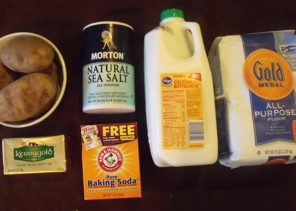 Buttermilk, potato, salt, flour, baking soda and butter for boxty