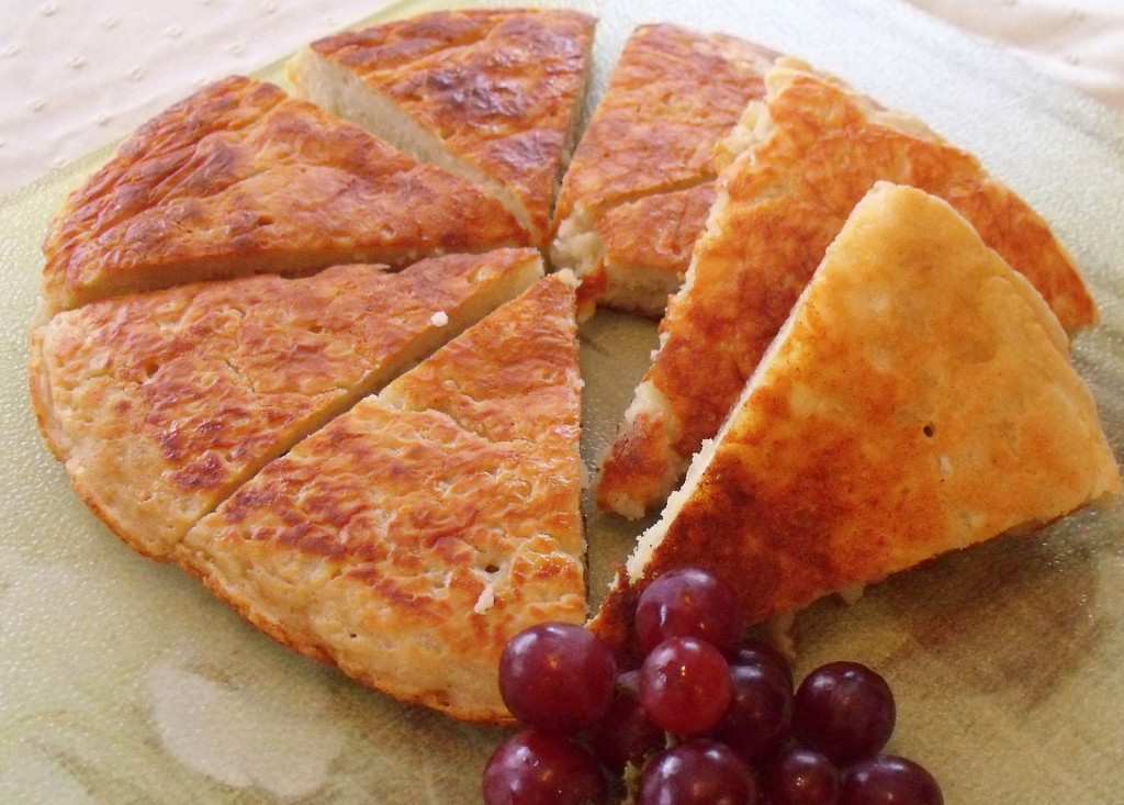 Grapes garnishing a freshly cooked Irish boxty pancake