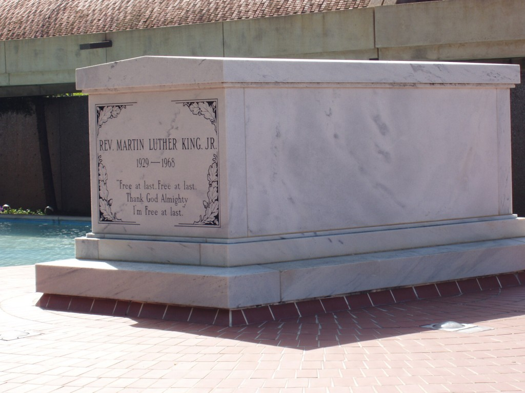 Large marble tomb of with text