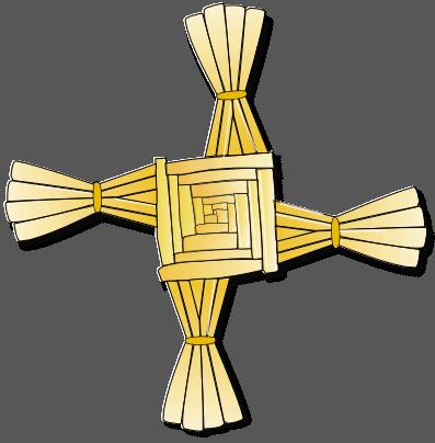 A close up of a cross logo