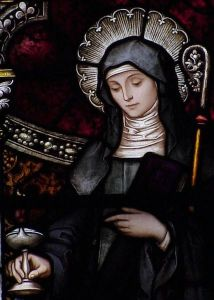 A church window with Saint Brigid of Ireland.