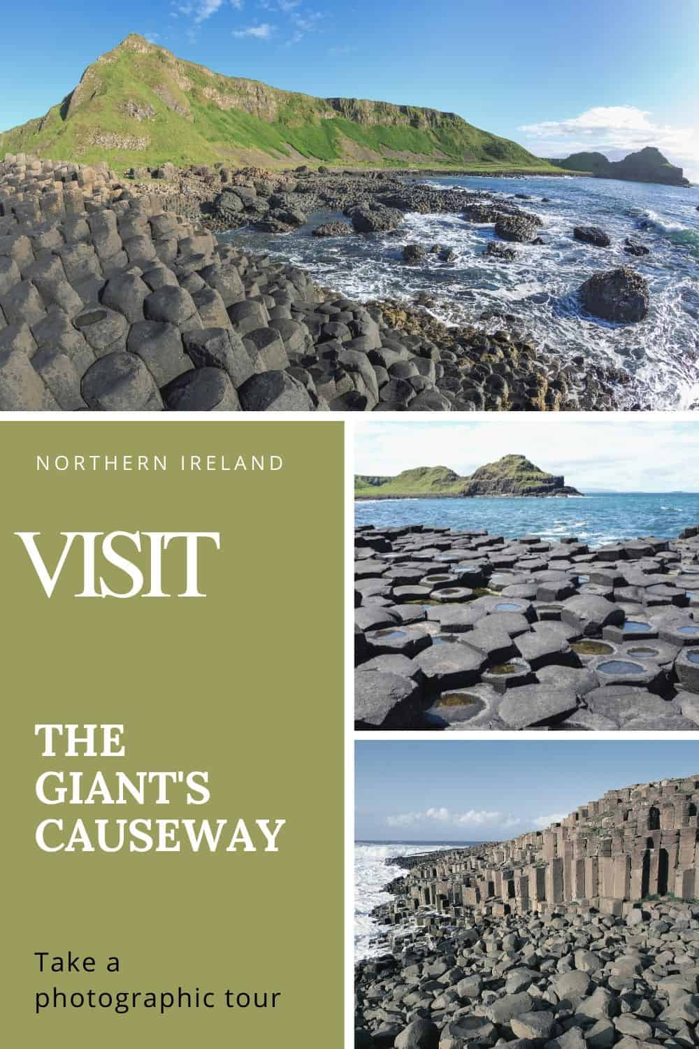 Picture collage featuring the Giant's Causeway on the coast of County Antrim in Northern Ireland