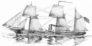 Black and white sketch of a vintage sailing ship