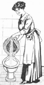 A Victorian woman beside a toilet in a black and white sketch