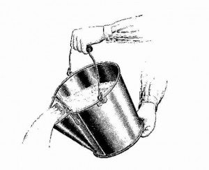 Sketch in black and white of emptying a bucket of water