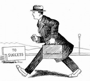 Vintage sketch of a man in a coat with a briefcase on the road to success