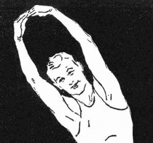 Sketch of a vintage athlete stretching his arms