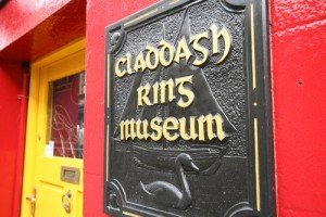 The entrance sign for the Claddagh Ring Museum in Galway
