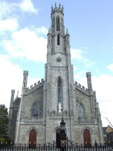 The spire and front of Carlow Cathedral