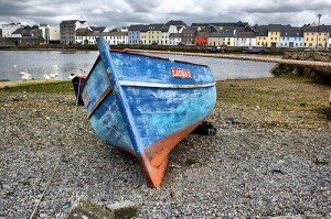 Blue boat on the shore near the Claddagh