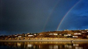 A double rainbow over a beach in County Cork Ireland