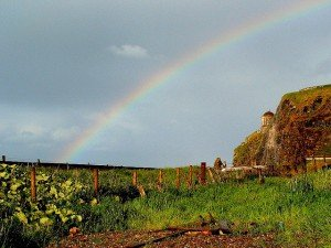 A rainbow near Mussendon Temple in County Derry Ireland