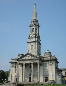 Front view of Cavan Cathedral with spire