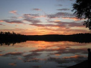 Sunset over a lake in County Cavan