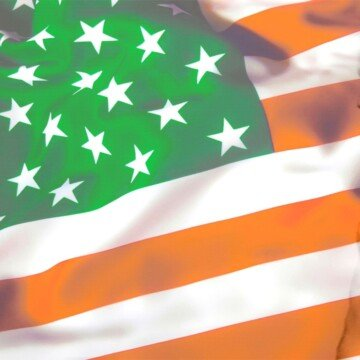 Green orange and white coloring on the American stars and stripes flag pattern