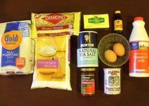 Flour, almonds, sugar, salt eggs, butter and milk for cookie dough