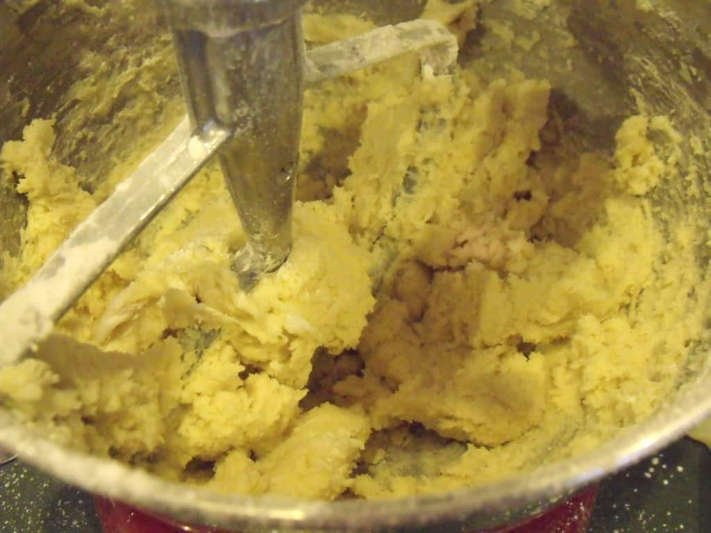 Mixing almond cookie dough in a mixer