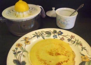 Squeezing a lemon for Irish pancakes