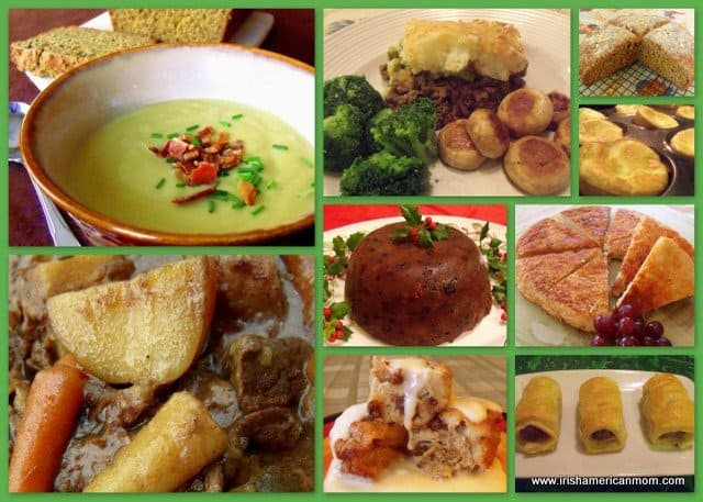 Collage featuring a collection of Irish foods including soups, boxty, stew and sausage rolls.