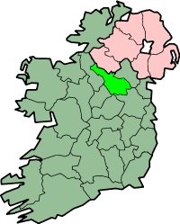 County Cavan highlighted in green on a map of Ireland