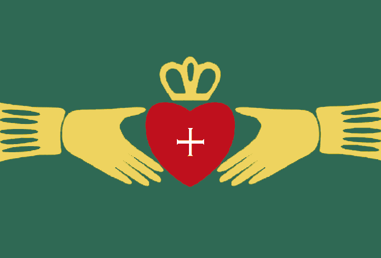 Symbol of a Ring with hands, a heart and a crown