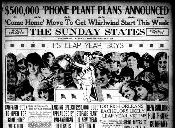 http://commons.wikimedia.org/wiki/File:Sunday_States_1916_Its_Leap_Year_Boys.jpg