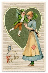 A Valentine Card with a flying leprechaun asking a girl to be my valentine