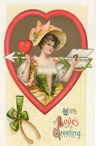 Woman wearing a bonnet and holding an arrow in a heart frame