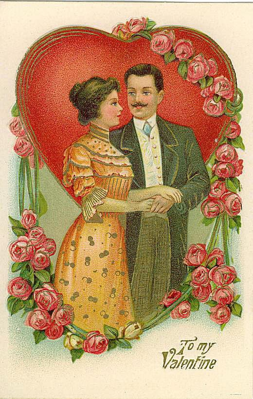 Couple holding hands with a heart background