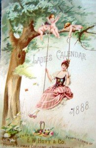 Victorian Ladies Calendar with lady on a swing for the year 1888