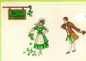 Vintage image of Irish dancers outside a pub sign for The Shamrock