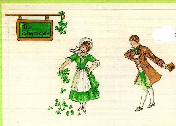 Vintage image of Irish dancers outside a pub sign for The Shamrock