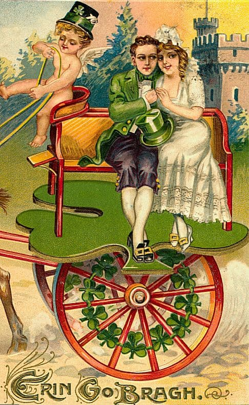 Irish couple on a cherub driven carriage