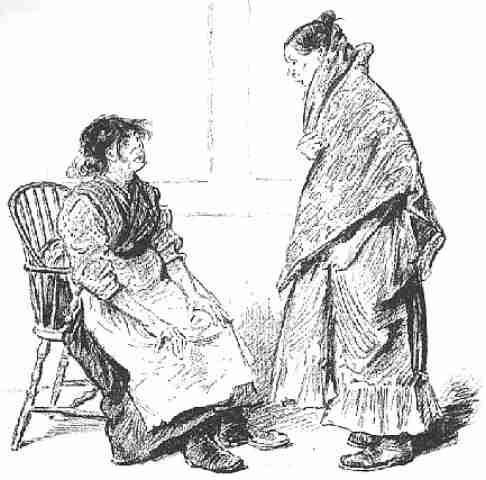 Vintage sketch of two women one on a chair and one standing wearing a shawl