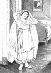 A vintage sketch of a bride putting on her veil