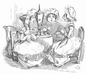 Sketch of four Victorian ladies having tea and gossiping at a table
