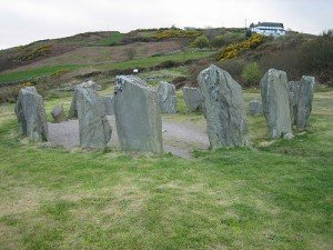 Standing stones in a circle in West Cork Ireland