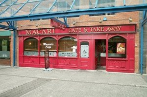 Red shop front on Macari chipper or chip shop in Tallaght Dublin