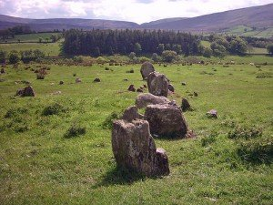 Standing stones in a field in Auglish County Derry