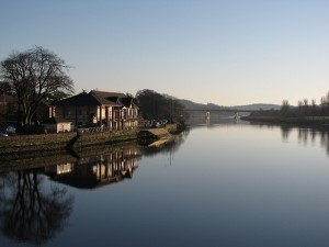 The River Bann and boat house in Coleraine Northern Ireland