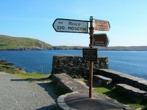 A signpost for Moscow 3310 km on the Ring of Beara