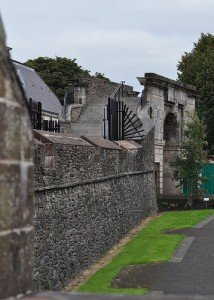 Gate or entrance on the old stone walls surrounding Derry or Londonderry in Northern Ireland