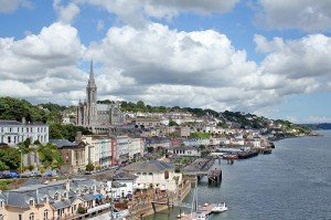 View of the cathedral and harbor in Cobh County Cork