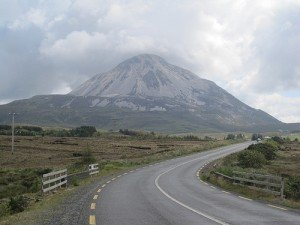 The road running beside Mount Errigal County Donegal