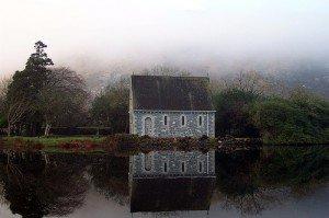 Small lakeside oratory in Gougane Barra County Cork Ireland